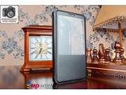 Фирменный оригинальный чехол-книжка для Huawei Ascend Mate 7 черный кожаный с окошком для входящих вызовов..