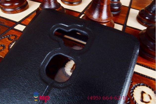 Фирменный оригинальный чехол-книжка для Huawei Ascend Mate 7 черный кожаный с окошком для входящих вызовов