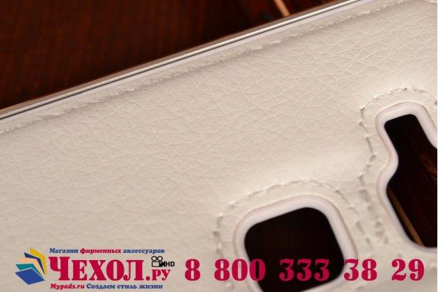 Фирменная роскошная элитная премиальная задняя панель-крышка на металлической основе обтянутая импортной кожей для Huawei Ascend Mate 7 королевский белый