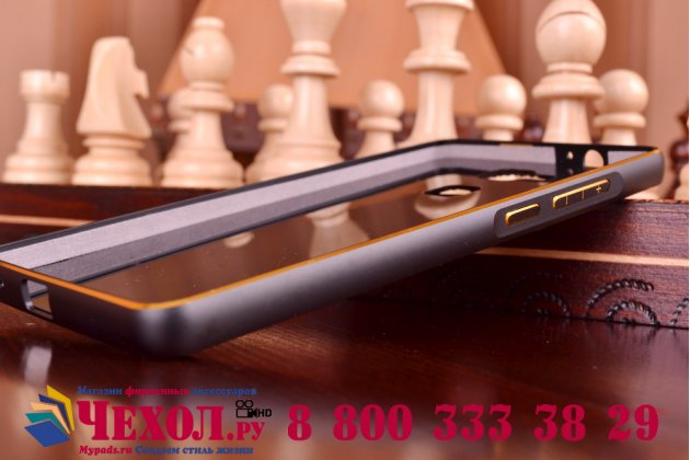 Фирменная роскошная элитная премиальная задняя панель-крышка на металлической основе обтянутая импортной кожей для Huawei Ascend Mate 7 королевский черный