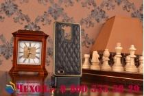 Фирменная роскошная элитная задняя панель-крышка на металлической основе обтянутая импортной кожей прошитой стёганым узором для Huawei Ascend Mate 7 королевский черный
