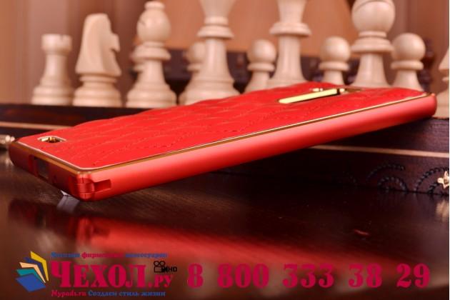 Фирменная роскошная элитная задняя панель-крышка на металлической основе обтянутая импортной кожей прошитой стёганым узором для Huawei Ascend Mate 7 королевский красный