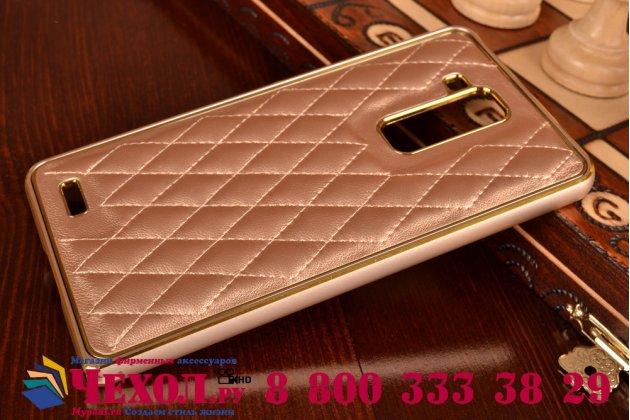 Фирменная роскошная элитная задняя панель-крышка на металлической основе обтянутая импортной кожей прошитой стёганым узором для Huawei Ascend Mate 7 королевский золотой