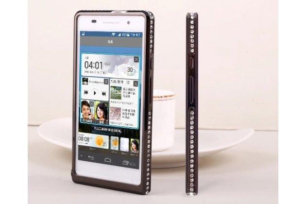 Фирменный оригинальный ультра-тонкий чехол-бампер для Huawei Ascend P6/ P6S черный металлический