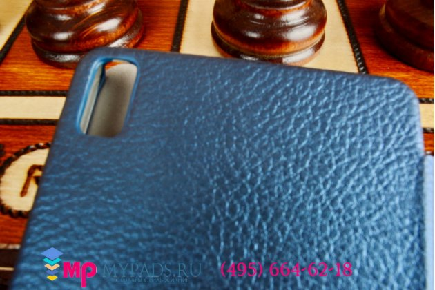Чехол-книжка для Huawei Ascend P6 (P6-U06) синий кожаный.