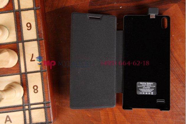 Чехол-книжка со встроенной усиленной мощной батарей-аккумулятором большой повышенной расширенной ёмкости 2800mAh для Huawei Ascend P6/ P6S черный + гарантия