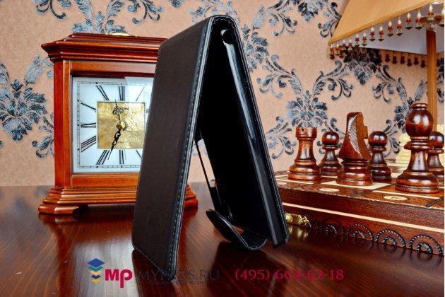 Фирменный оригинальный вертикальный откидной чехол-флип для Huawei Ascend P6 (P6-U06) черный кожаный