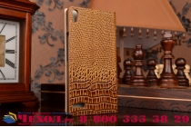 Фирменный роскошный эксклюзивный чехол с объёмным 3D изображением кожи крокодила коричневый для Huawei Ascend P6 / P6S . Только в нашем магазине. Количество ограничено
