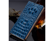 Фирменный роскошный эксклюзивный чехол с объёмным 3D изображением рельефа кожи крокодила синий для Huawei Asce..