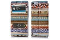Фирменный чехол-книжка с безумно красивым расписным эклектичным узором на Huawei Ascend P7 Mini с окошком для звонков