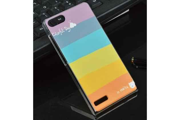"""Фирменная необычная из легчайшего и тончайшего пластика задняя панель-чехол-накладка для Huawei Ascend P7 Mini """"тематика Все цвета Радуги"""""""