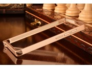 Фирменный оригинальный ультра-тонкий чехол-бампер для Huawei Ascend P7 Mini золотой металлический..