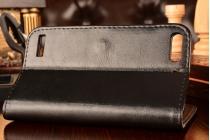 Фирменный чехол-книжка из качественной импортной кожи с мульти-подставкой застёжкой и визитницей для Хуавей Асценд Акцент П7 Мини черный