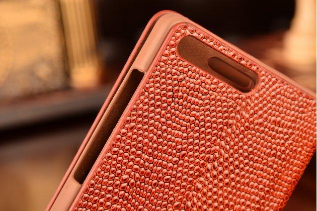 Фирменный роскошный эксклюзивный чехол с объёмным 3D изображением кожи крокодила коричневый для Huawei Ascend G6/ Huawei Ascend P7 Mini . Только в нашем магазине. Количество ограничено