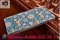 """Фирменная роскошная задняя панель-чехол-накладка с безумно красивым расписным узором на Huawei Ascend P7 / P7 Dual Sim """"тематика Олени с цветами"""""""
