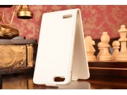 Фирменный оригинальный вертикальный откидной чехол-флип для Huawei Ascend P7 Mini белый из качественной импорт..