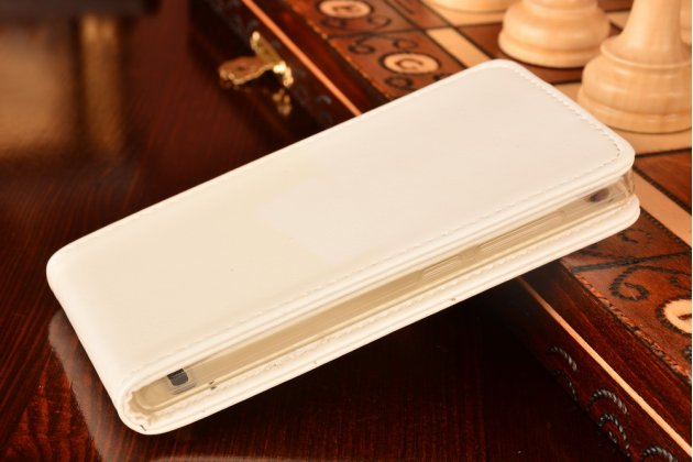 """Фирменный оригинальный вертикальный откидной чехол-флип для Huawei Ascend P7 Mini белый из качественной импортной кожи """"Prestige"""" Италия"""
