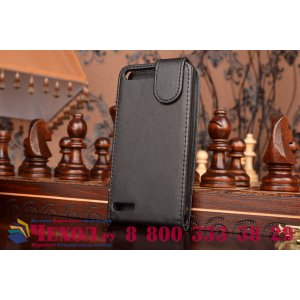 Фирменный оригинальный вертикальный откидной чехол-флип для Huawei Ascend P7 Mini черный кожаный