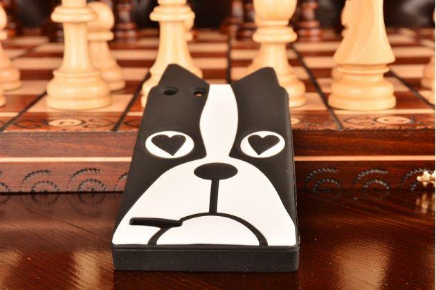 """Фирменная задняя панель-чехол-накладка с объёмным 3D изображением для Huawei Ascend P7 Mini """"тематика черно-белая Собака"""""""