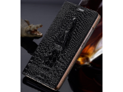 Фирменный роскошный эксклюзивный чехол с объёмным 3D изображением кожи крокодила черный для Huawei Ascend P7 /..