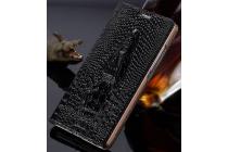 Фирменный роскошный эксклюзивный чехол с объёмным 3D изображением кожи крокодила черный для Huawei Ascend P7 / P7 Dual Sim. Только в нашем магазине. Количество ограничено