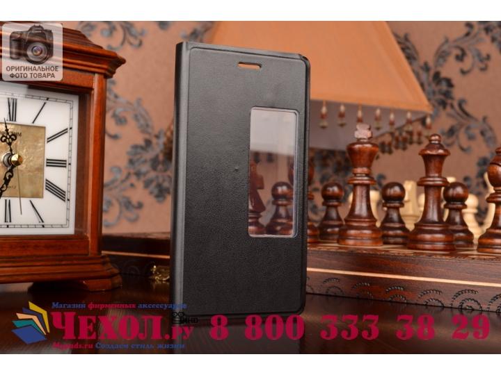 Фирменный оригинальный чехол-книжка для Huawei Ascend P7 черный с окошком для входящих вызовов..