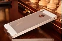 Фирменная металлическая задняя панель-крышка-накладка из тончайшего облегченного авиационного алюминия для Huawei Ascend P7 / P7 Dual Sim серебристая