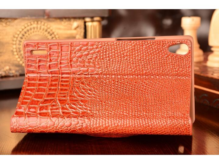 Фирменный роскошный эксклюзивный чехол с объёмным 3D изображением кожи крокодила для Huawei Ascend P7/P7 Dual ..