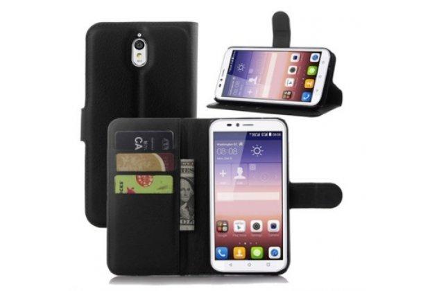 """Фирменный чехол-книжка из качественной импортной кожи с подставкой застёжкой и визитницей для Huawei Ascend Y336 / Y3 /Y3C /Y3-U03 4.0""""    черный"""