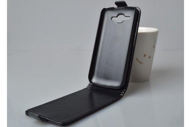 """Фирменный оригинальный вертикальный откидной чехол-флип для Huawei Ascend Y520 черный из натуральной кожи """"Prestige"""" Италия"""