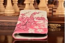 """Фирменный уникальный необычный чехол-книжка для Huawei Ascend Y520 """"тематика цветок Сакуры"""""""