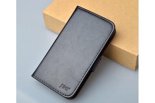 Фирменный чехол-книжка из качественной импортной кожи с мульти-подставкой застёжкой и визитницей для Хюавей Аскенд У520 черный