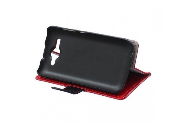 Фирменный чехол-книжка из импортной кожи с мульти-подставкой застёжкой и визитницей для Huawei Ascend Y520 красный с полосой