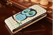 """Фирменный вертикальный откидной чехол-флип для Huawei Ascend Y520 """"тематика Сова"""""""