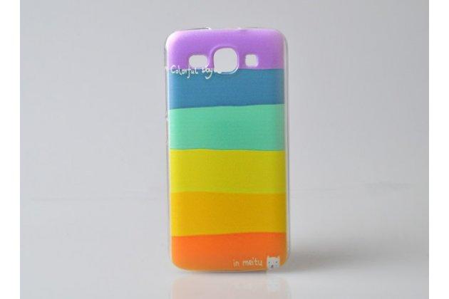 """Фирменная необычная из легчайшего и тончайшего пластика задняя панель-чехол-накладка для Huawei Ascend Y520 """"тематика Все цвета Радуги"""""""