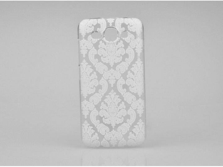 Фирменная роскошная задняя панель-чехол-накладка с расписным узором для Huawei Ascend Y520 прозрачная белая..