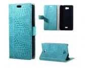 Фирменный чехол-книжка с подставкой для Huawei Ascend Y541/Y5C/Honor Bee лаковая кожа крокодила цвет бирюзовый..