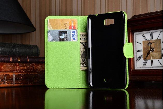 Фирменный чехол-книжка из качественной импортной кожи с мульти-подставкой застёжкой и визитницей для Хюавей Асценд У541/ У5С/ Хонор Би зеленый