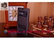 Фирменный чехол-книжка для Huawei Ascend P6/ P6S черный с окошком для входящих вызовов и свайпом водоотталкива..