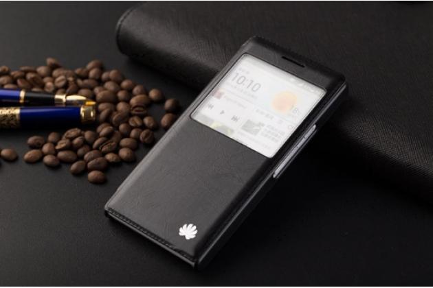 Фирменный оригинальный чехол-книжка для Huawei P6 черный с окошком для входящих вызовов водоотталкивающий