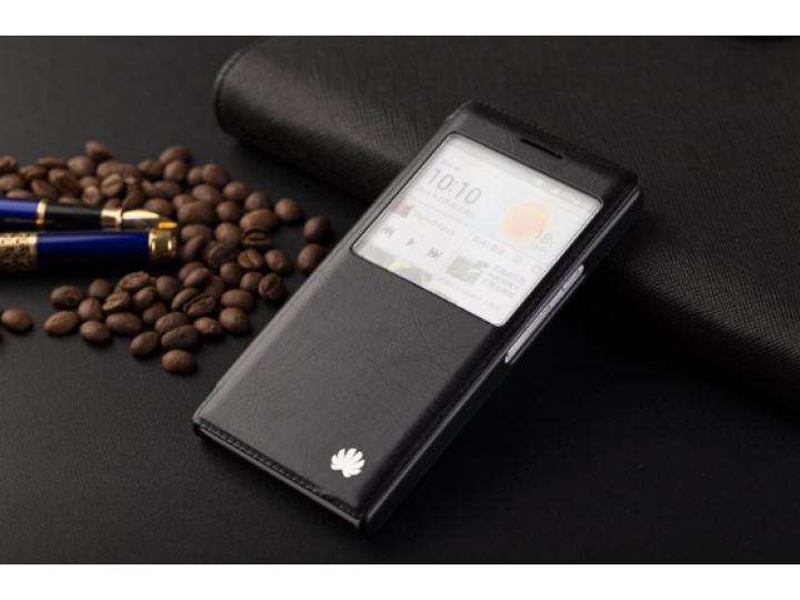Фирменный оригинальный чехол-книжка для Huawei P6 черный с окошком для входящих вызовов водоотталкивающий..