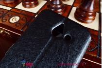 Фирменный оригинальный чехол-книжка для Huawei Ascend Y550 черный кожаный с окошком для входящих вызовов и свайпом