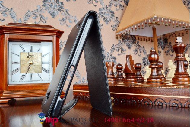 Фирменный оригинальный вертикальный откидной чехол-флип для Huawei Ascend Y550 черный кожаный
