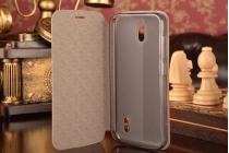 """Фирменный чехол-книжка из качественной водоотталкивающей импортной кожи на жёсткой металлической основе для Huawei Ascend Y625 / Y625-U32 5.0""""  коричневый"""