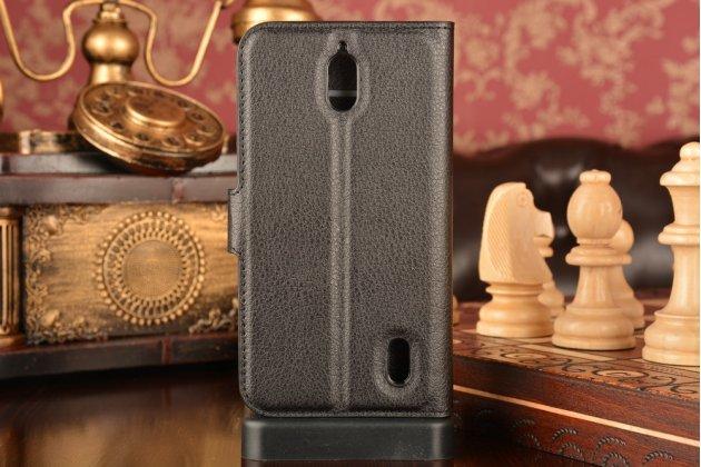 """Фирменный чехол-книжка из качественной импортной кожи с подставкой застёжкой и визитницей для Huawei Ascend Y625 / Y625-U32 5.0""""   черный"""