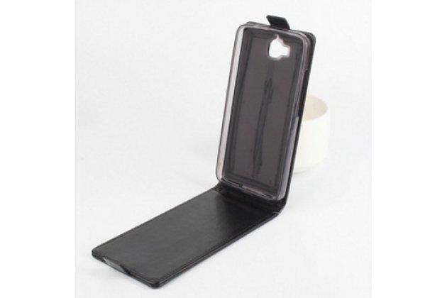 """Фирменный оригинальный вертикальный откидной чехол-флип для Huawei Ascend Y625 / Y625-U32 5.0""""  черный из натуральной кожи """"Prestige"""" Италия"""