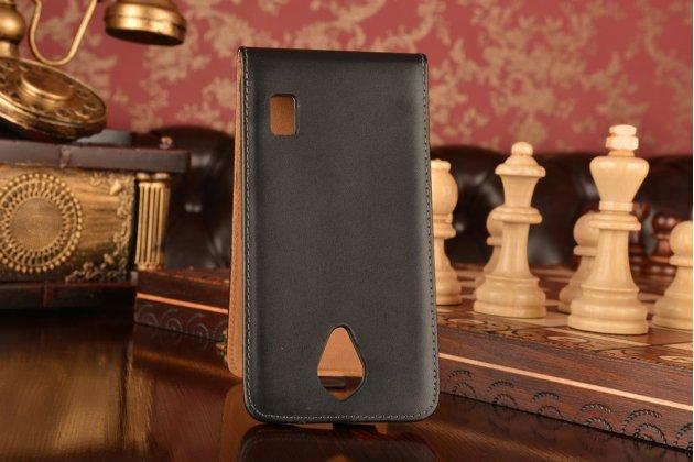 """Фирменный оригинальный вертикальный откидной чехол-флип для Huawei Ascend Y635/ Y635-CL00/Y635-TL00/ Y635-L21 5.0""""  черный из натуральной кожи """"Prestige"""" Италия"""