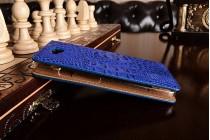 "Фирменный чехол-книжка с подставкой для Huawei Enjoy 5 (TIT-AL00)/Y6 Pro/Honor 4C Pro (TIT-L01) 5.0""  лаковая кожа крокодила синий"