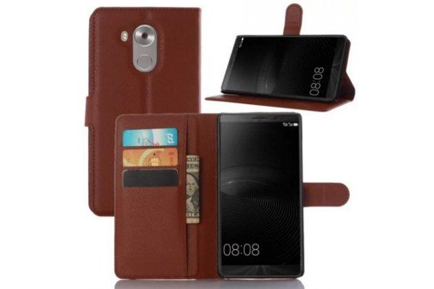 """Фирменный чехол-книжка из качественной импортной кожи с подставкой застёжкой и визитницей для Хюавей Энжой 5 /Huawei Enjoy 5 (TIT-AL00) /Y6 Pro/Honor 4C Pro (TIT-L01) 5.0"""" коричневый"""
