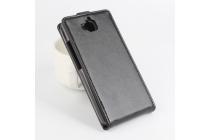 """Фирменный оригинальный вертикальный откидной чехол-флип для Huawei Enjoy 5 (TIT-AL00)/Y6 Pro/Honor 4C Pro (TIT-L01) 5.0"""" черный из натуральной кожи """"Prestige"""" Италия"""